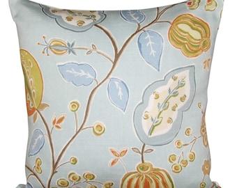 Sanderson Fantasy Garden Tangerine & Aqua Cushion Cover