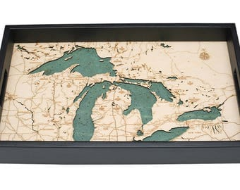 Great Lakes Wooden Topographical Serving Tray