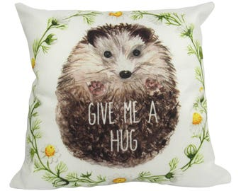 Give Me a Hug Watercolor Hedgehog Porcupine - Pillow Cover