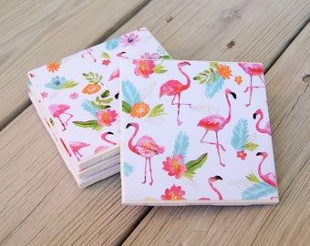 Flamingo Floral Ceramic Tile Coasters/Set of 4