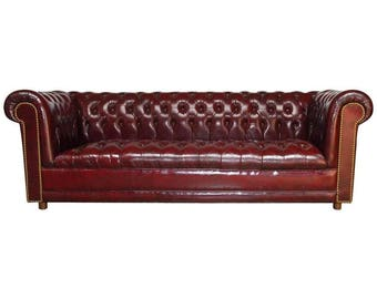 English Cordovan Tufted Leather Chesterfield Sofa