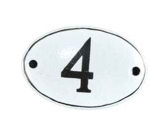 "Plate ""No. 4"" in white and black enamel"