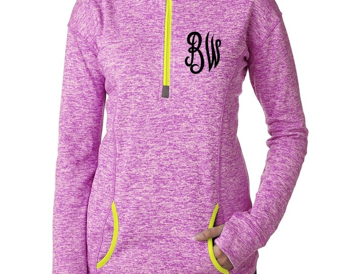 Monogrammed longsleeved shirt . Womens monogram t-shirt with thumbholes , kangaroo warming pockets, fleece lined , half zip up, warm shirt.