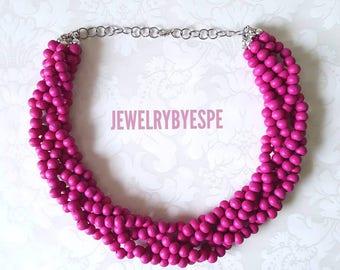 Hot Pink Necklace, Necklace, Statement Necklace, Fuchsia Chunky, Bib Magenta, Multi Strand Necklace , Pink Wedding, Boho Choker Bridesmaid