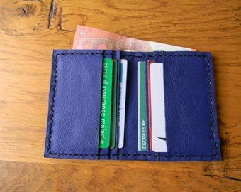 Hand made blue leather card holder