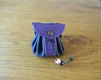Handmade Navy/purple two-tone leather purse