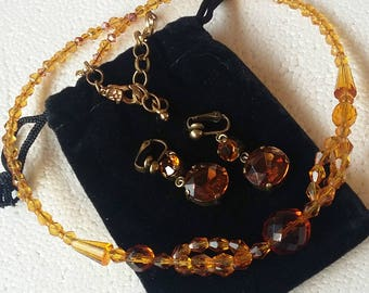 Vintage Handmade, Czech Amber Glass with Earrings (Pierced or Clips) Art Deco