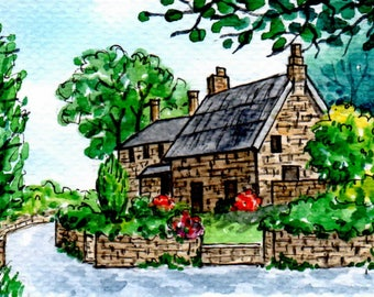 SALE!ACEO Original Watercolor Painting-Country Stone Cottage/Garden