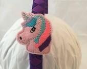 Headband- Unicorn- pink unicorn- gift for girl- purple headband- stocking stuffer- hair accessory- unicorn headband- unicorn gift
