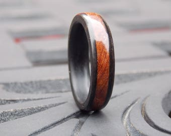 Men's Ebony and Redwood Burl wood ring combined wood ring size 10