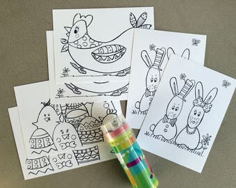 Kit Easter postcards and box of 12 pencils