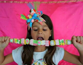 Girls Lady's Candy Mini Top Hat Candyland Crush Sweet Katy Perry California Gurls Birthday Party Headpiece HANDMADE Cosplay Anime Manga