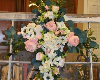 Cross flowers, wedding arch flowers, Wedding arch flowers, ceremony arch, Religious arch flower