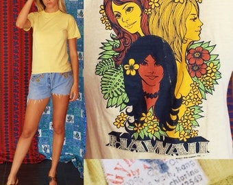 Sale Vintage 70s T Shirt Hawaiian T Shirt Hawaii Pop Art T Shirt