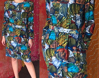 Psychedelic Art Dress Contemporary Art Dress Vintage 80s Op Art Dress