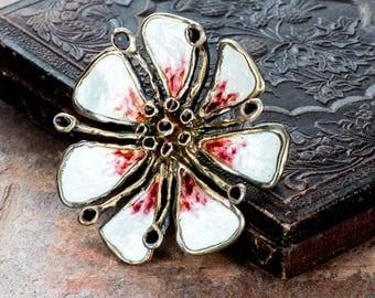 David Andersen Norway enameled gilt sterling flower brooch