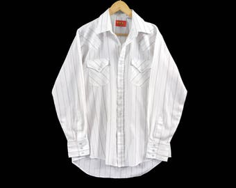 VTG Ely Plains Western Shirt - Large Mens - Striped Shirt - Cowboy Shirt - Rockabilly - Vintage Clothing -