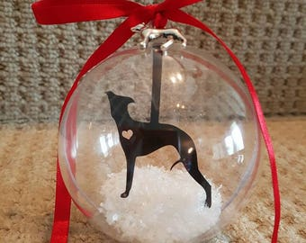 Whippet dog paper cut bauble