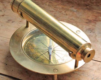 Rare Antique English Brass telescope with compass by London Stanley / Vintage monocular with compass stand