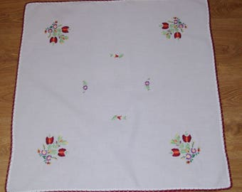 Polish white hand embroidered linen traycloth floral multicolour Flowers Floral Hand embroidery Serape Hand made flowery dresser scarf