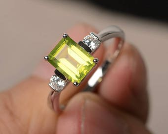 Natural Peridot Ring Promise Ring August Birthstone Ring Emerald Cut Green Gemstone Ring Sterling Silver Ring