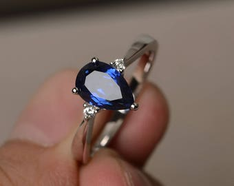 Blue Sapphire Ring Wedding Ring September Birthstone Ring Blue Gemstone Ring Sterling Silver Ring Pear Cut Gemstone