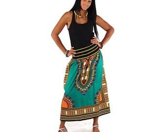Traditional Print Skirt with elastic waist