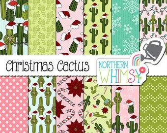 """Christmas Digital Paper - """"Christmas Cactus"""" - fun hand drawn cacti in santa hats & other Christmas themes - scrapbook paper -commercial use"""