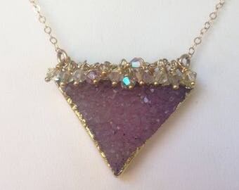 Amethyst Druzy Necklace-Triangle-Swarovski Crystal-Iolite-Gold Filled-Vermeil