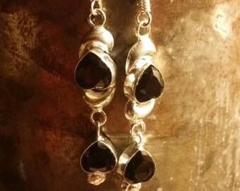 Holiday SALE 85 % OFF Black Onyx  Earrings Gemstone  .925 Sterling Silver