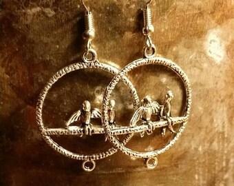Holiday SALE 85 % OFF Bohemian  Bird Hoops Dangle  Earrings .925 Sterling Silver