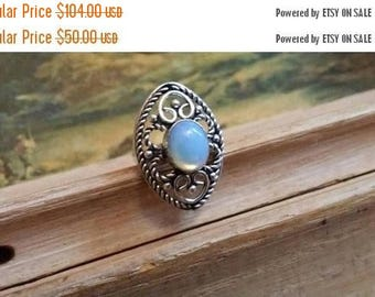 Holiday SALE 85 % OFF Opalite  Size 7 Ring Gemstone. 925 Sterling  Silver