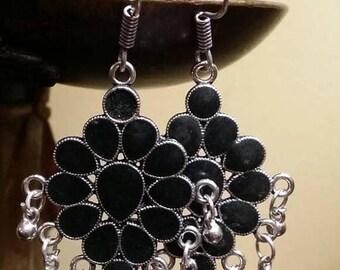 Holiday SALE 85 % OFF Black Onyx Sterling silver Earrings Gemstone  .925