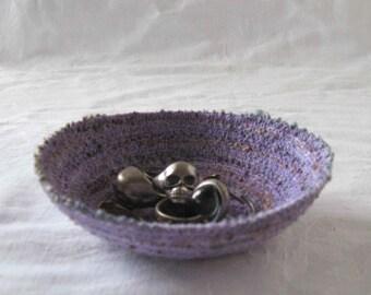 Purple ring dish, key bowl, trinket dish, sundries basket storage basket, cord dish, coiled yarn bowl coiled bowl, coiled basket purple dish