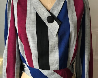Unique 80's vintage striped cropped blouse! Pair with ANYTHING for a fierce look!