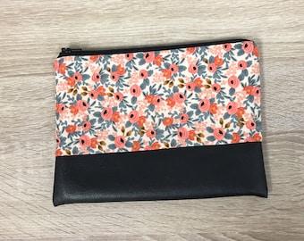 Rifle Paper Co Fabric Floral Clutch Floral Bag Black Clutch Leather Bag Bridesmaid Clutch Zipper Pouch Boho Clutch Pink Floral Clutch