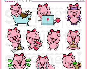 Pig clipart, pig planner sticker, planner sticker clipart, instant download