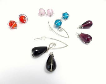 5 pairs of interchangeable earrings, glass and surgical steel