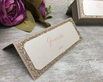 Glitter Name Cards, Glitter Name Place, Name Places, Glam Name Places, Modern Name Places, Champagne and Blush  Name Places