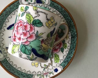 Vintage Crown Staffordshire Cup and Saucer 7380, Demitasse Cup | english bone china, espresso cup, bird teacup, china with bird, pink peony