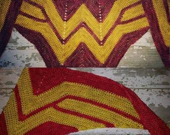 Wonder Woman Scarf/Red & Gold shawl/girl power scarf/Malabrigo Rios Wonder Woman Wrap/Superhero Wrap/cosplay/child -adult sizes/ReadyToShip!