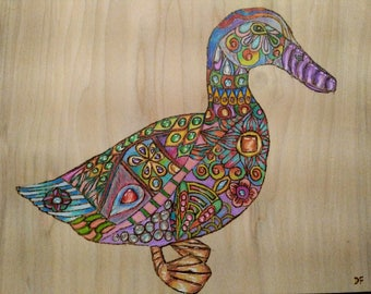 """Pyrography Woodburning, Janis the Duck  11""""x8.5"""""""