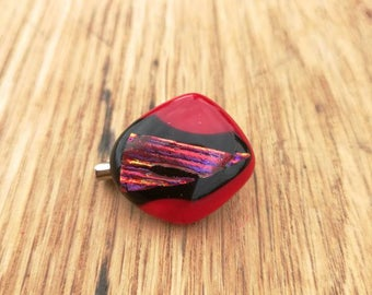 Ruby Red and Striped Fused Dichroic Glass Brooch