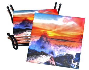 Valentines Day Gift For Him Sunrise Beach Coaster / Gift for Surfers / Housewarming Gift For Beach House Decor