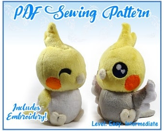 Chubby Chibi Bird Plush PDF Sewing Pattern (Embroidery Included)