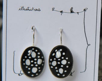 Hand painted * original illustration hand painted earrings * lever BO *.