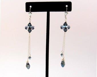 Becharmed Crystal Earrings, Swarovski Fortune Bead Earrings, Denim - Montana Blue Crystal Earrings, Blue Crystal Dangle Earrings