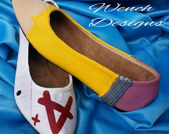 Bespoke Custom made Pencil and Paper Dolly shoes. Teacher, Student, Office, Admin, Work, Professions