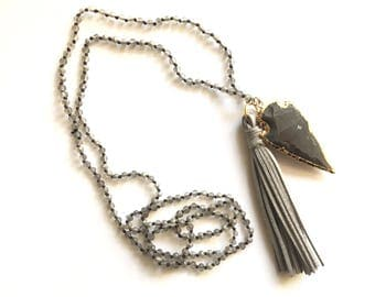 The Mini Mira | Hand Knotted Arrowhead & Tassel Necklace