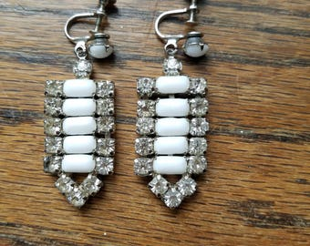 Vintage white cabochon and diamond rhinestone clip-on earrings